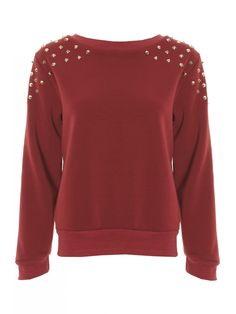 Wine & Gold Studded Jersey Sweater Jumper - Clothing from Lavish Alice UK