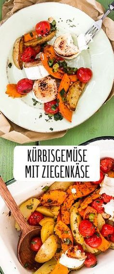 Kürbisgemüse aus dem Ofen mit karamellisiertem Ziegenkäse Pumpkin with goat's cheese: delicious! Pumpkin vegetables from the oven with caramelized ZieOven vegetables with new potatoes, feta and freshStuffed aubergines from the oven – with yellow lins Healthy Dessert Recipes, Vegetarian Recipes, Detox Recipes, Desserts, Pumpkin Vegetable, Cheese Pumpkin, Baked Pumpkin, Food Inspiration, Clean Eating