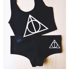 This comfy matching crop top and panty set is a nice minimal salute to the Deathly Hallows...
