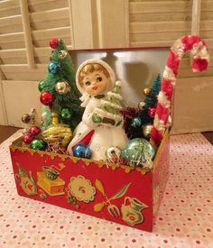 Vintage CUTE Tin Recipe Box with Vintage Christmas Delights Decoration OOAK