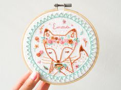 Personalized Embroidery Hoop Art  Gift for Flower Tea Fox &