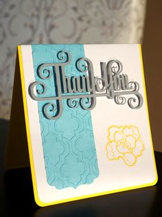 Thank you card. Silhouette cameo used to cut and sketch.