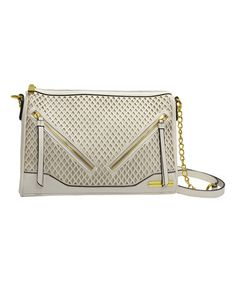 Another great find on #zulily! White Diamond Perforated Crossbody Bag #zulilyfinds
