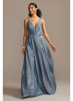 Illusion Plunge Iridescent Metallic Ball Gown WBMLC19001
