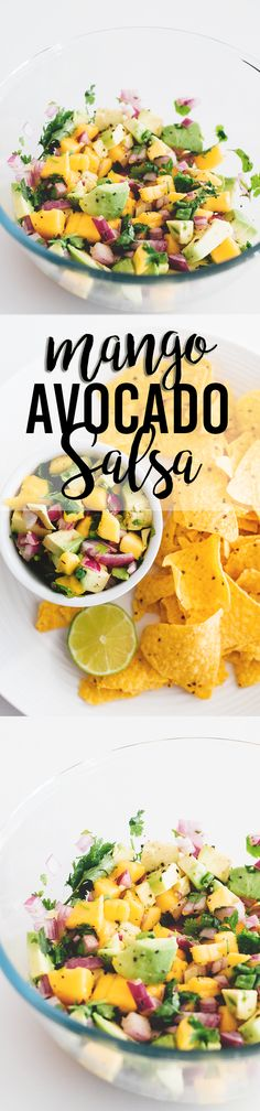 Great for summer Shabbat lunch. Delicious, fresh and vibrant Mango Avocado Salsa - made in 5 minutes, perfect with corn chips or on tacos. Raw Food Recipes, Vegetarian Recipes, Cooking Recipes, Healthy Recipes, Vegan Vegetarian, Mango Recipes, Salmon Recipes, Mango Avocado Salsa, Guacamole