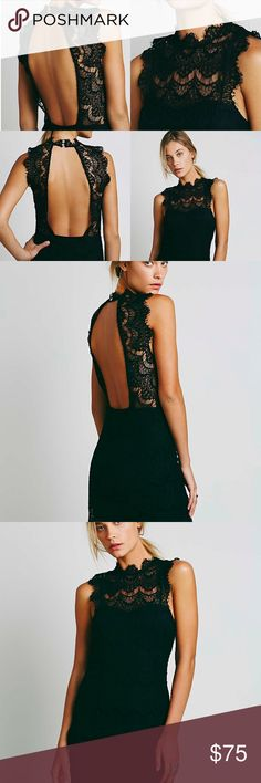 "Free People Daydream Lace Dress Black Size S Delicate lace and a fit-to-flatter sleeveless silhouette combine to create this party-ready confection from Free People.      Fits true to size, order your normal size     Mock neck, sleeveless, sheer front yoke     Two-button closure at back neck, open back, concealed zip back closure from waist to hem     Allover lace, seaming detail, rounded scalloped hem, lined     Approx. 26"" from back of neck to hem     Polyester/cotton/rayon/spandex…"