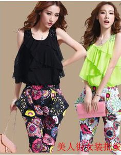 2014 summer new women's round neck short sleeve floral sleeveless leotard piece pants piece pants free shipping  US $20.99