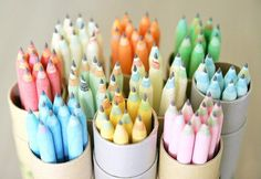 freshly sharpened pastel pencils