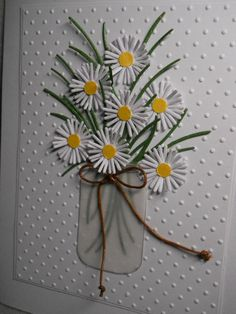 Handmade card, Mason jar of white daisies, daisies in jar, dimensional, handmade, blank inside, embossed, any occasion card by cardpeddler