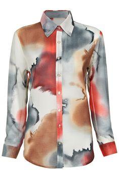 "ROMWE | ""Ink Painting"" Grey Shirt, The Latest Street Fashion"