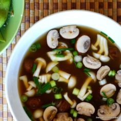 Miso Soup - The View from Great Island. Turned out well - tried with miso broth & vegetable broth at different times, added shiitake mushrooms, 1 small baby bok choy chopped & block extra-firm tofu. Healthy Miso Soup, Bouillon Detox, Soup Recipes, Cooking Recipes, Lunch Recipes, Asian Recipes, Healthy Recipes, Healthy Tips, Yummy Recipes
