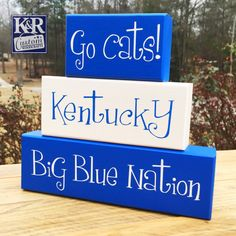 UK Wildcat Kentucky Family wood painted Blocks stacking Decor