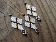 Exclusive New Design..white, gold, black X diamond Native Boho delica beaded necklace earring set hung on a 18k gold filled chain