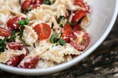 caprese pasta with healthy cauliflower alfredo sauce