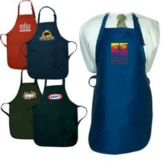 "NEW! LT-4374 Gourmet Apron with Pockets. 55% cotton/45% polyester 7.5 oz. twill fabric. Two waist-level front pockets with 1"" wide adjustable neck strap. 24"" waist ties."