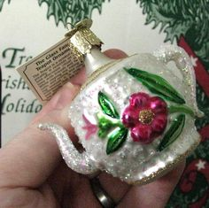 Fancy Teapot 32003 Old World Christmas Blown Glass Ornament ... off to a new home!