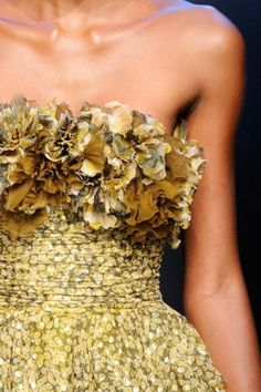 Gold, green, flowers, ruffle
