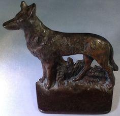 Bradley & Hubbard Metal Cast Iron Coyote Dog Bookend /Doorstop Statue       #379 #HubbardBradley