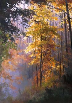 Roman Bozhkov's painting is imbued with a great love of nature, in addition to general conditions of nature, the author tries to notice. Forest Painting, Autumn Painting, Autumn Scenery, Autumn Trees, Watercolor Landscape Paintings, Landscape Art, Watercolor Trees, Watercolor Artists, Watercolor Portraits