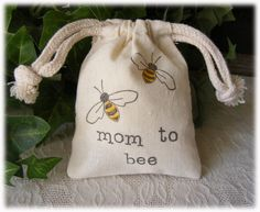 Bee themed Baby Shower FAVOR muslin bags stamped with Mom to Bee - Set of 10. $10.00, via Etsy.