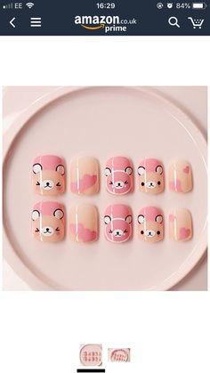 Cute Nail Art, Cute Nails, Pretty Nails, Cartoon Nail Designs, Cute Nail Designs, Glitter Nail Art, Gel Nail Art, Fingernails Painted, Manicure Y Pedicure