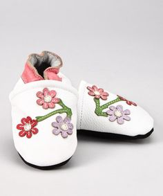 Take a look at this White Cherry Blossom Booties by Augusta Baby on #zulily today!