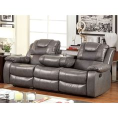 Furniture of America Claybrooks Recliner Sofa with Cushions