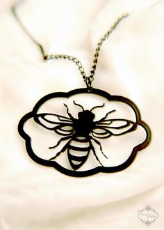 Honey Bee necklace in black stainless steel - insect jewelry. $26.00, via Etsy.