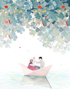 Cute Couple Cartoon, Cute Couple Art, Anime Love Couple, Cover Wattpad, Anime Korea, Illustration Art Drawing, Iphone Background Wallpaper, Korean Art, Ship Art