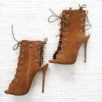 8de341e1e0f Tan lace up heels 🍂 never worn 🍂 size 4 🍂 free postage Tan Lace Up