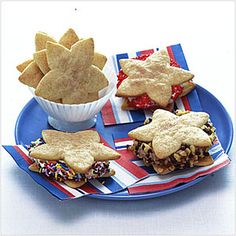 Star-Shaped Snickerdoodles | MyRecipes.com...Get festive and creative with ice cream sandwiches! Kids of all ages will love to indulge in making these treats with vanilla ice cream and a few other flavors, like chocolate, rocky road, strawberry, coffee or even raspberry sorbet. Don't forget the chocolate chips and sprinkles!