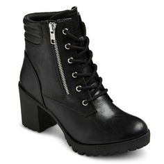 Chunky Heel Combat Boots Women's Easton Chunky Heel Combat Boots - Size Only Worn Once. Mossimo Supply Co Shoes Combat & Moto Boots Combat Boots Heels, Thick Heel Boots, Combat Boot Outfits, Black Combat Boots, Heeled Boots, Ankle Boots, Shoe Boots, Moto Boots, Designer Shoes