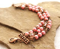 Gorgeous Pink, Copper, Light Red, Three Pearl and Crystal String Adjustable Clasp Bracelet