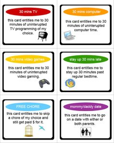 Reward cards (kids earn tickets for good behaviour and good attitudes, then, once a week, get to trade the tickets in for the reward of their choice)