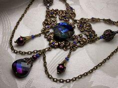 Blue Purple Gold Victorian Choker Heliotrope by TitanicTemptations