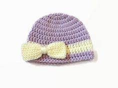 Newborn Baby Girl Bow Hat Lavender Cream by PreciousBowtique