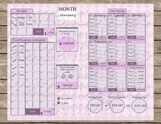 Kakebo - PRINTABLE 2 Pages Expenses Savings Monthly Tracker Raspberry Dashboard…