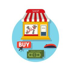 Online Shop Icon Flat. Sale and Buy . Clothes Icons. $5.00