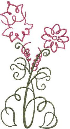 Columbine machine embroidery design from Art Deco Flowers