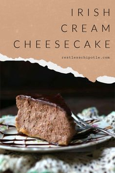 Decadent Baileys Irish Cream Cheesecake is dense and ultra creamy with a rich ganache glaze. Easy Cookie Recipes, Best Dessert Recipes, Sweets Recipes, Easy Desserts, Baking Recipes, Baking Ideas, Holiday Recipes, Chocolate Cheesecake Recipes, Baked Cheesecake Recipe