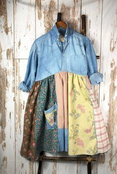 Plus size Womens Denim Shirt Dress Up cycled Re purposed Funky Shabby Chic Style One of a kind Fun Romantic Soft casual - Denim Shirt Dress - Ideas of Denim Shirt Dress - Plus size Women's Denim Shirt Dress Up cycled Re Womens Denim Dress, Denim Shirt Dress, Dress Shirts For Women, Denim Shirts, Refashion Dress, Diy Clothes Refashion, Sewing Shirts, Sewing Clothes, Dress Sewing