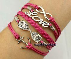 https://www.wish.com/merchant/supercases#cid=551777d718b279267ccaaefb Infinity Wish Bracelet Two Owl Bracelet Anchor Bracelet Love Bracelet Rose Wax Cord And Braid Leather Best Gift.