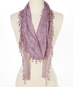 Dark Purple Oblong Lace Scarf