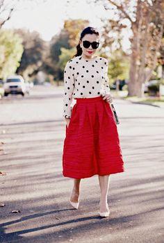 Halliedaily 50s Ladylike Polka Dot Kate Spade Top Red Midi Skirt 5
