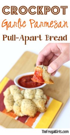 Crockpot Garlic Parmesan Pull-Apart Bread Recipe! ~ from TheFrugalGirls.com ~ the perfect Casy Slow Cooker Party Appetizer or delicious Dinner side! #slowcooker #recipes #thefrugalgirls