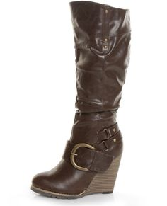Brown Belted Knee High Wedge Boots