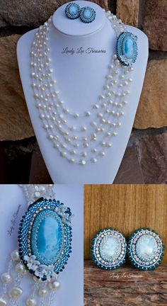 Gorgeous! Larimar Necklace Shortener and Earrings by Lindy Lee Treasures