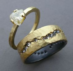 18k gold, uncut diamond/18k gold silver, diamonds todd pownell