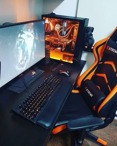 Orange Gaming Setup If you are wondering which gaming chair you should buy here is the top 23 best gaming chair on the Setup Desk, Computer Gaming Room, Computer Desk Setup, Gaming Pcs, Pc Setup, Computer Technology, Best Gaming Setup, Gamer Setup, Gaming Room Setup