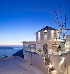 """Mylos"" café-lounge bar in Firostefani, Santorini Island, Greece Santorini Grecia, Santorini Travel, Santorini Island, Greece Travel, Mykonos, Santorini Honeymoon, Villas, Travel Around The World, Around The Worlds"